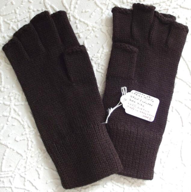 Vintage fingerless gloves UNUSED 1970s Stretchy brown Scrooge gloves Men women