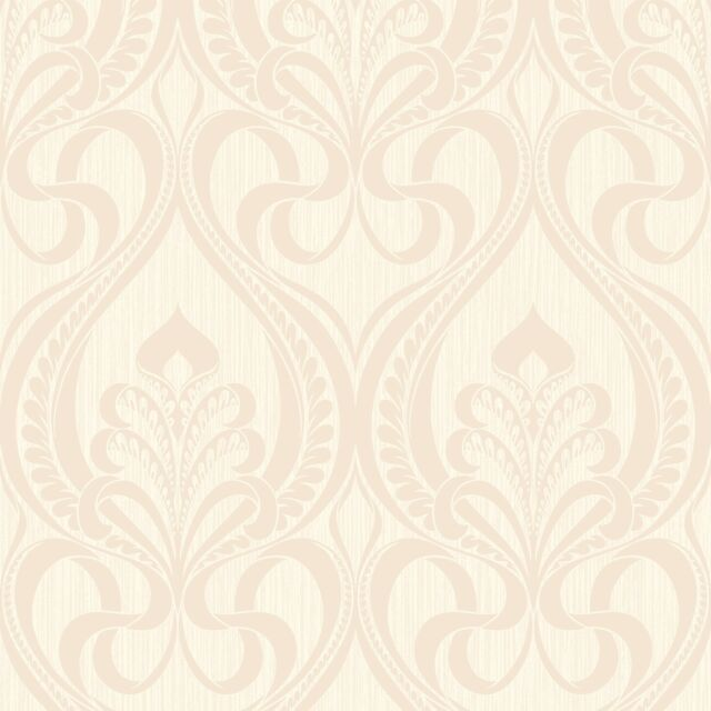 Art Nouveau Cream and Shimmer Gold Glitter Damask Feature Wallpaper 113003