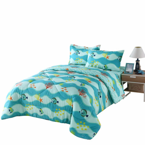277Fish Twin 5PCs Kids Comforter Set Girls Boys Bedding Set Sheet Set Bunk Beds