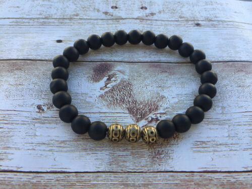 Herren Männer Armband Edelsteine handgefertigt Onyx