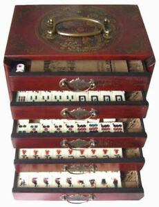 Chinese-Antique-Mahjong-Set-Wooden-Case-144-Full-set-with-box