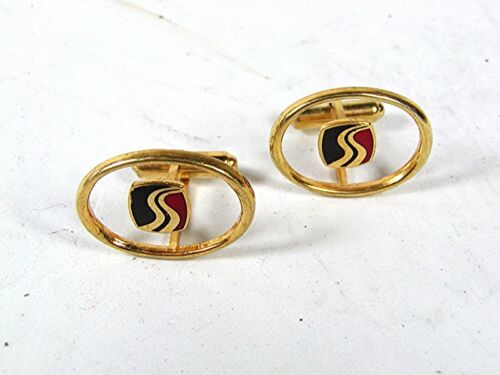 Details about  /Vintage Gold Tone Blue Red Letter S Cufflinks 81916