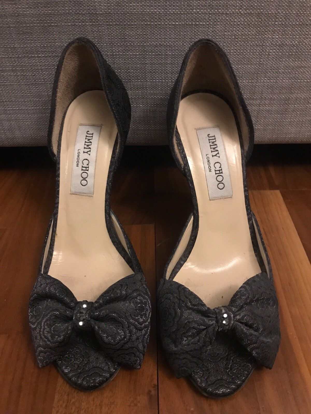 Silver Jimmy Choo shoes with bows, EU 36, UK 3