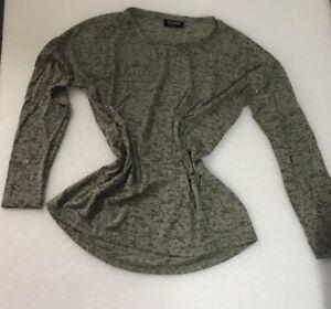 Gina-Damen-Langarm-Shirt-Gr-40-Gruen-Glitzer-gemustert-Leicht