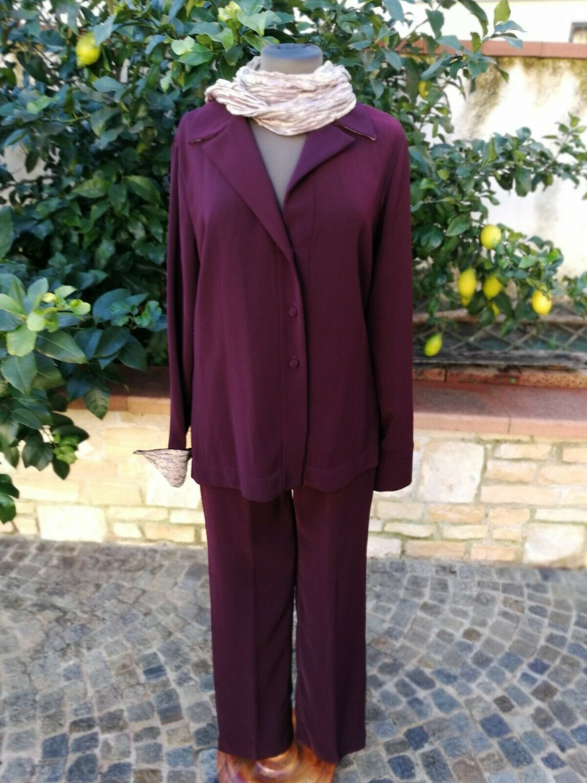 Stefania Lunardon Anzug Jacke Damenhose Burgundy Inbegriffen Halstuch