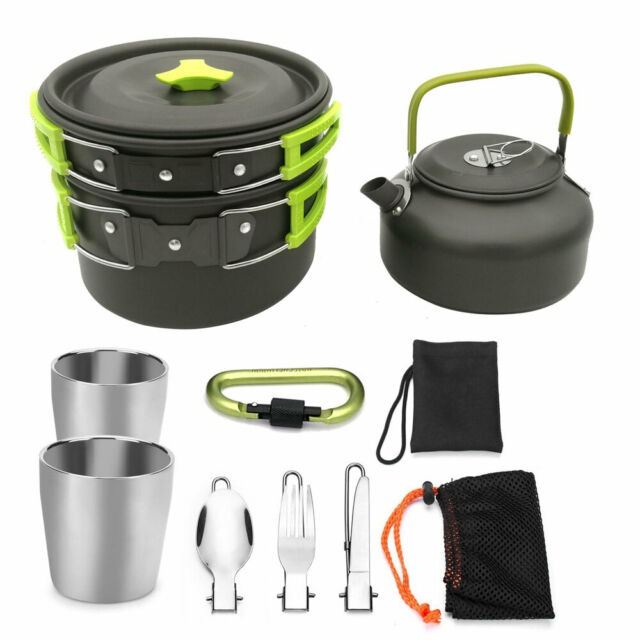 4x Durable Cooking Picnic Bowl Pot Set Outdoor Backpacking Camping Equipment