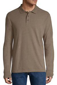 St-John-039-s-Bay-Men-039-s-Long-Sleeve-Taupe-Heather-Size-L-Super-Soft-Polo-Shirt-NWT