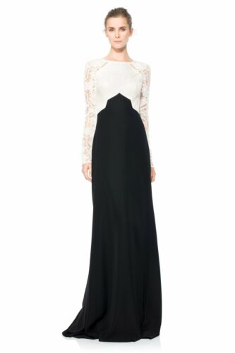 $468 Tadashi Shoji Embroidered Tulle Lace Crepe Skirt Color-block Dress Gown