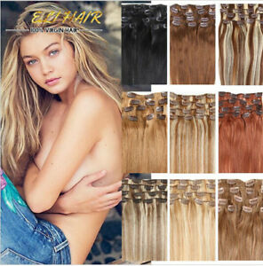 100-Real-Remy-Human-Hair-Extensions-Full-Head-Clip-in-Best-Weft-Highlight