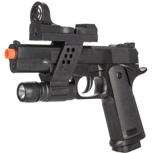 AIRSOFT TACTICAL SPRING PISTOL HAND GUN w/ LASER SIGHT & FLASHLIGHT 6mm BB BBs