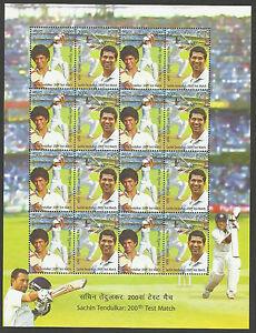 INDIA-2013-SACHIN-TENDULKAR-200th-CRICKET-TEST-MATCH-Souvenir-Sheetlet-of-8-MNH