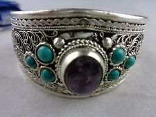 Napal Jewelry Bag with Cuff Bracelet Silver Turquoise Coral Bangle