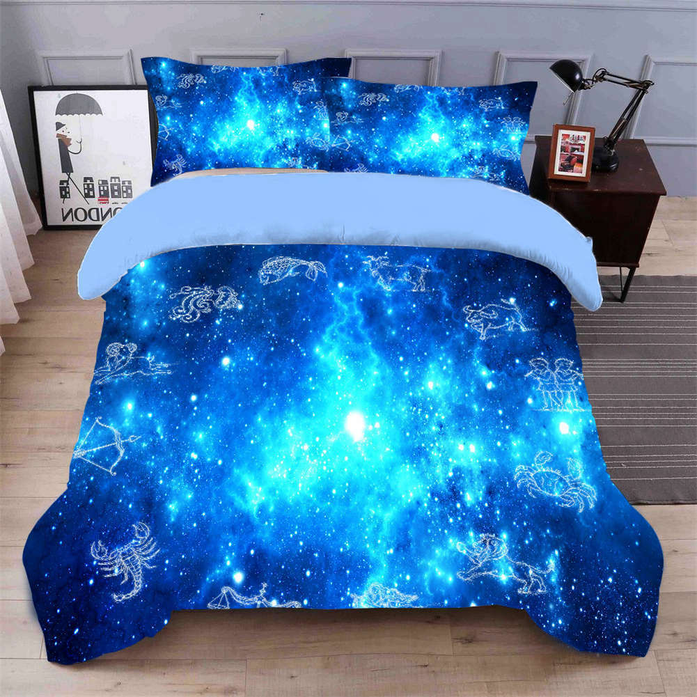 Blau Glowing Stars 3D Quilt Duvet Doona Cover Set Single Double Queen King Print