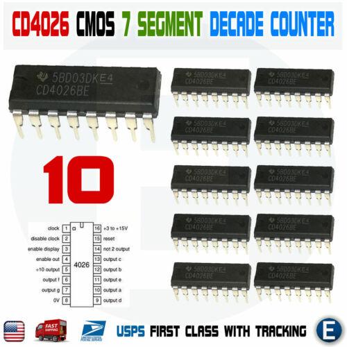 10PCS CD4026 CD4026BE 4026 CMOS Counters Decade//Divider 7 segment  DIP-16 IC USA