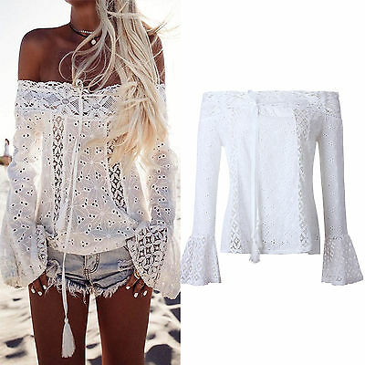 Women Off Shoulder Blouse Blouse Lace Hollow Loose T-shirt Top Clothing Casual