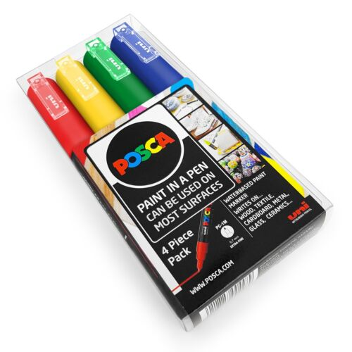 Primary Tones Uni POSCA PC-1M Art Paint Markers In Wallet Pack of 4