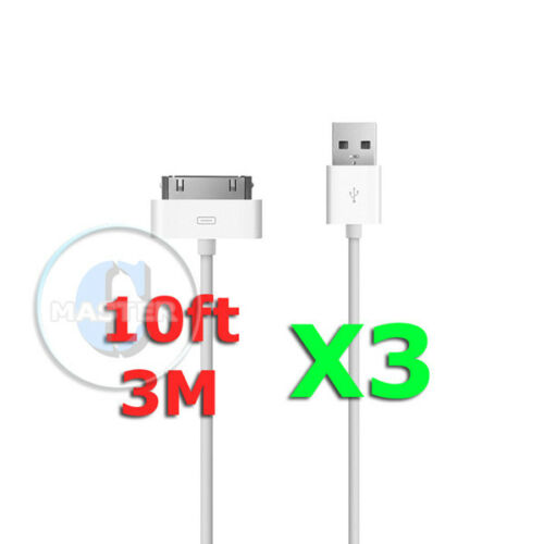 3X WHITE EXTRA LONG 3M//10FT USB CHARGE SYNC CABLE FOR APPLE iPOD iPHONE NEW iPAD