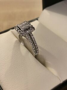 Engagement Ring With 4 Princess Cut Diamonds White Gold By Fred Meyer Jewelers Ebay