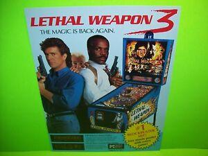 LETHAL-WEAPON-3-Pinball-FLYER-Original-NOS-Mel-Gibson-Danny-Glover-DATA-EAST