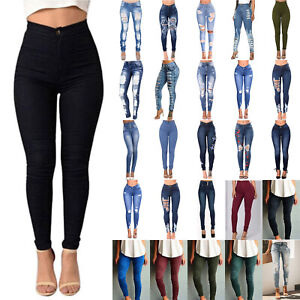 Women-Stretchy-Skinny-Jeans-Denim-Pants-High-Waisted-Jeggings-Legging-Trousers