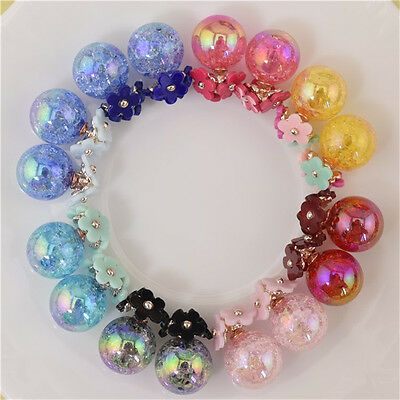 Fashion Women Transparent Crystal Ball Double Sided Earrings Two Ball Pearl Stud