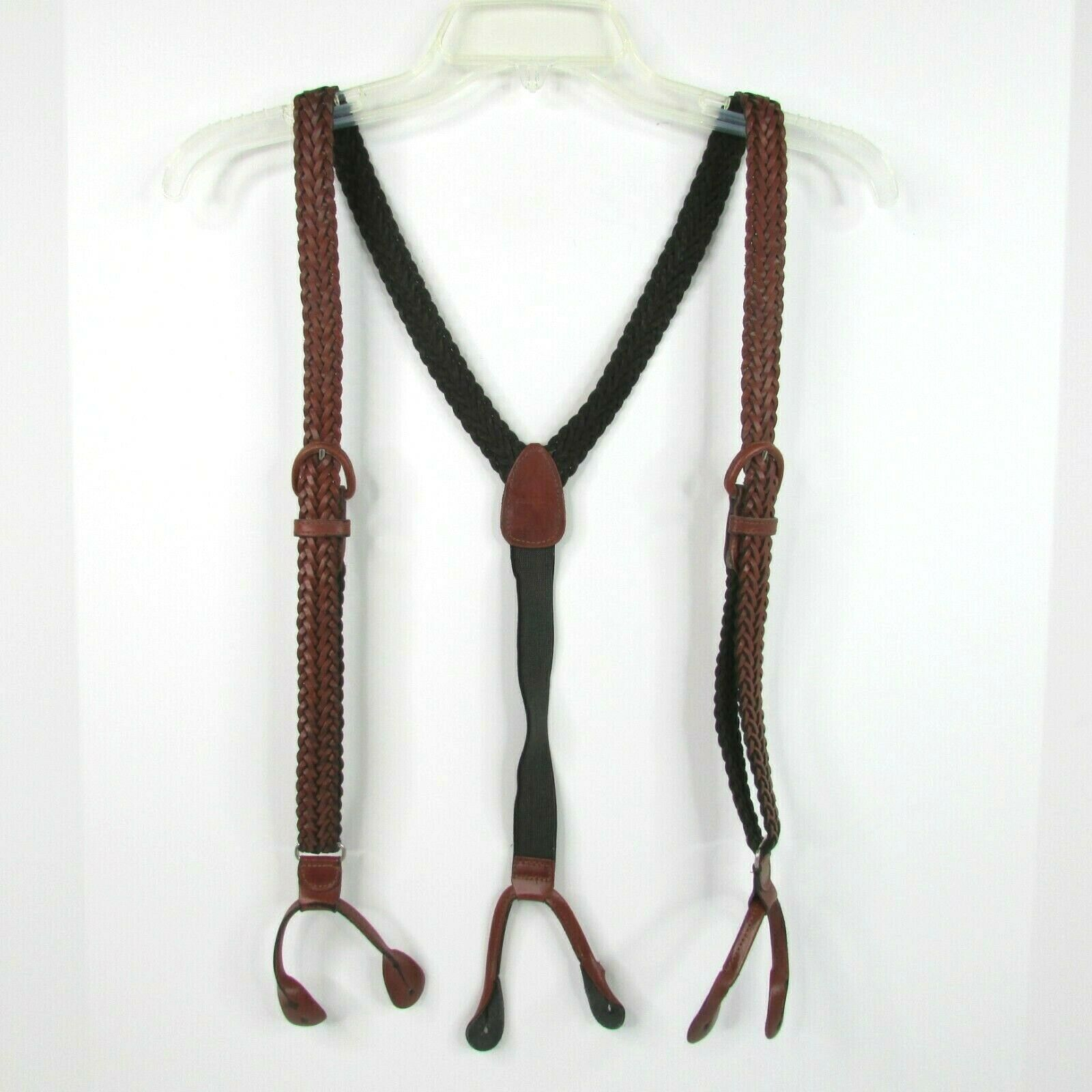 2 Braided Woven Leather Suspenders Brown Braces Adjustable Buckles Argentina