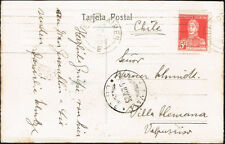3129 ARGENTINA TO CHILE POSTCARD -THE PORT, SHIPS- 1925 Bs. As. - VILLA ALEMANA