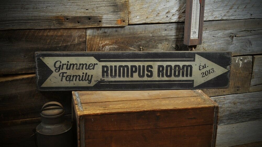 Personalized Rumpus Room Sign - Rustic Hand Made Vintage Wooden Sign ENS1000161
