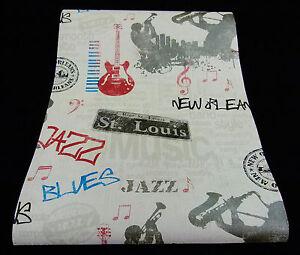 """05604-20-5) 1 Rôle Chic Papier Design Papier Peint """"la Nouvelle Orleans Blues""""-afficher Le Titre D'origine"""