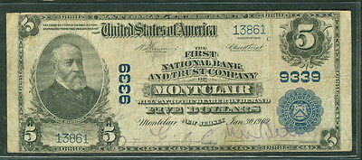 Enthusiastic National Bank Note 1902 Fr First Nb Montclair New Jersey #600 F/vf