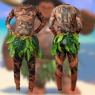 Kid Adult Maui Tattoo Printed Top Pants Leaf Belt 3PC Halloween Cosplay Costumes