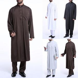 musulman-Hombre-SAUDI-Thobe-Thoub-Abaya-Bata-dishdasha-arabe-Vestido-Kaftan-Ropa