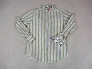 Robert-Graham-Button-Up-Shirt-Adult-Large-Green-Purple-Striped-Flip-Cuff-Mens-A0
