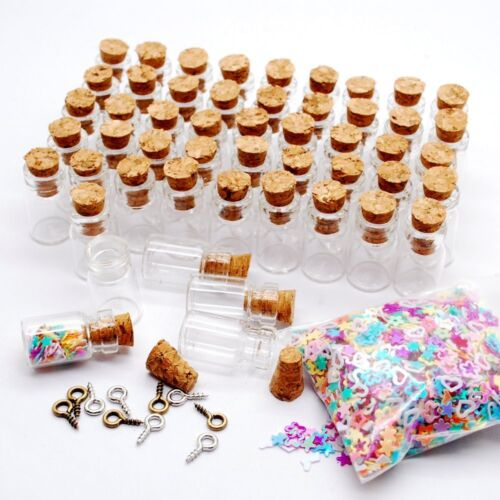 100pcs Mini Small Fancy Empty Glass Bottle Wishing with Corks Necklace Pendant