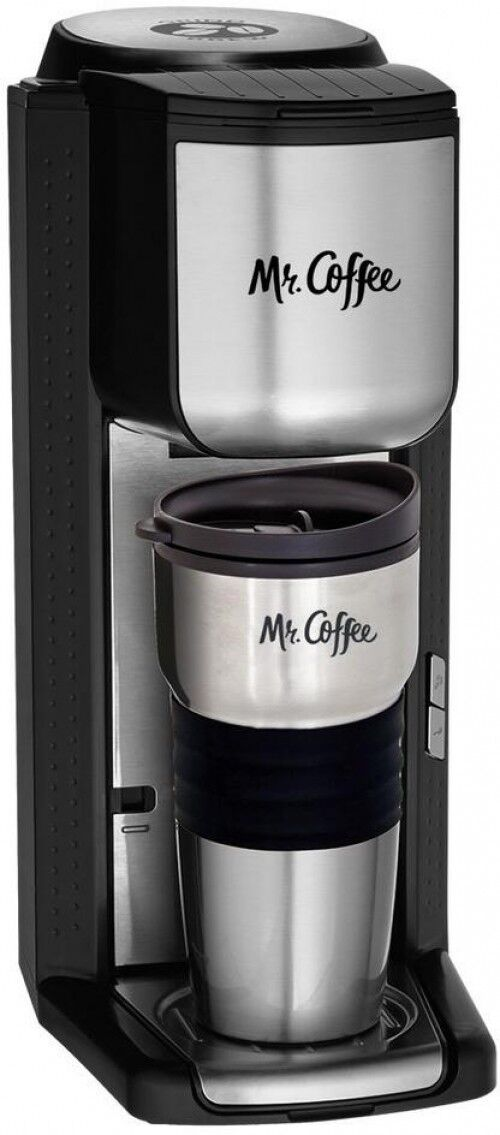 Mr. Coffee Single Serve Coffeemaker Built-in Grinder Travel Mug Stainless Steel