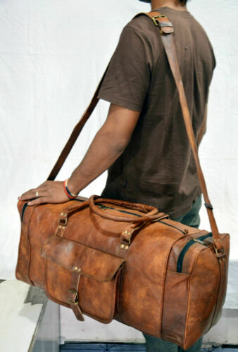 Mens Genuine Leather Vintage Duffel Overnight Carry-On Travel Luggage Gym Bag