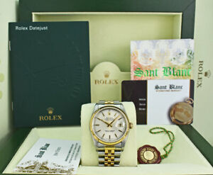 ROLEX 36mm 18kt Gold & Stainless Steel DateJust Silver Stick 16233 SANT BLANC