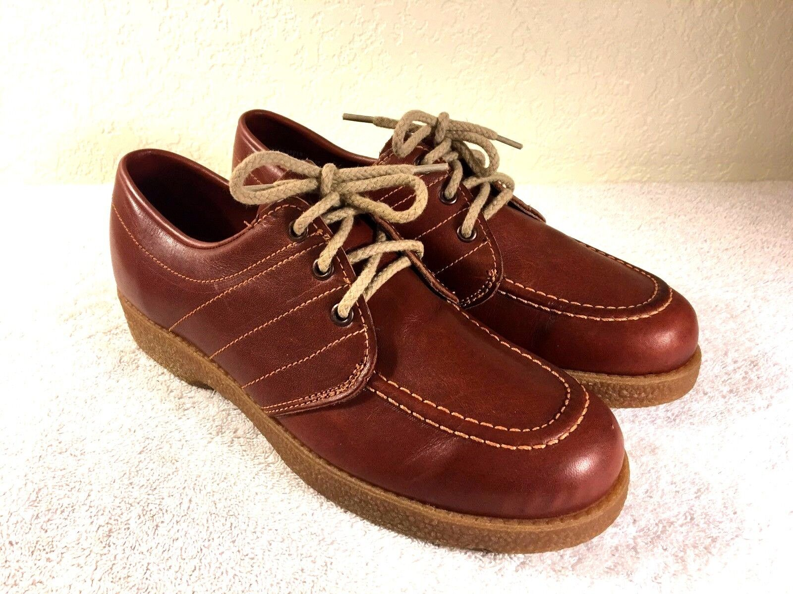 b4dbdfdb860f Sunbacker Vintage made in in in USA men s brown leather shoes size 9 D  Excellent 24f0be