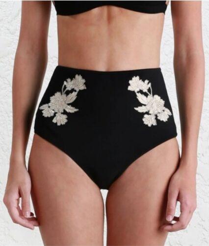 Zimmermann Divinity Motif High Pant Bikini BottomsBlack Flower Embroidery