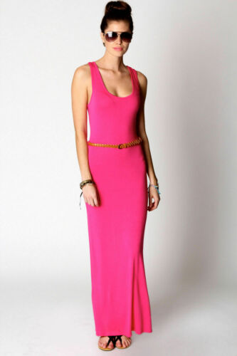 New Womens Ladies Plain Racer Back Belted Stretch Jersey Bodycon Long Maxi Dress