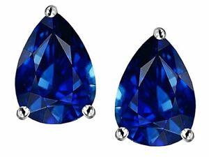2 ctw. Pear Shape Sapphire Stud Earrings in Sterling Silver ~ SEPT. BIRTHSTONE