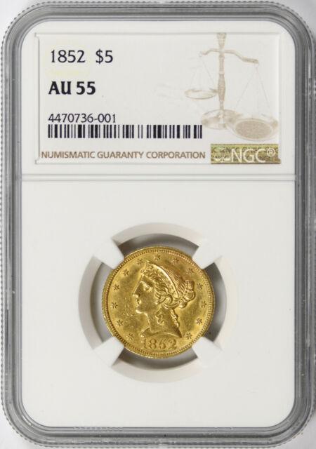 1852 $5 Liberty Gold Half Eagle NGC AU55