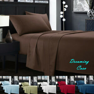 Egyptian-Comfort-1800-Count-4-Piece-Deep-Pocket-Bed-Sheet-Set-King-Queen-Size-J3