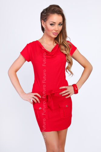 Ladies Mini Dress With Pockets /& Belt Cowl Neck Party Tunic Sizes 8-18 8108