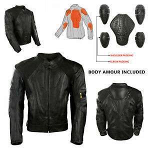 Mens-Black-Racing-Protection-Motorbike-Leather-Jacket-Motorcycle-CE-Armour