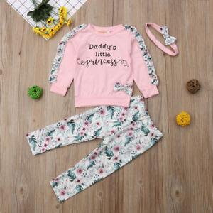 51e2d27ec Newborn Kids Baby Girls Winter Clothes Floral Ruffle Tops Pants 3Pcs ...