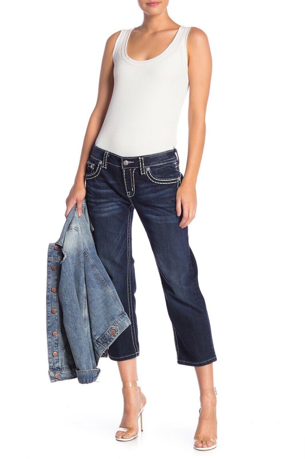 NEW MISS ME White Stitch Denim Capri Jeans SZ 27  89