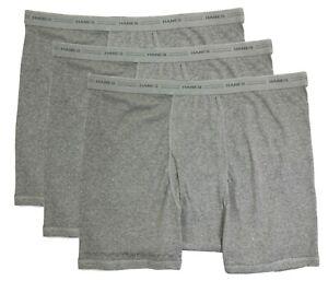 Big-amp-Tall-Men-039-s-Hanes-Underwear-Boxer-Briefs-3-PACK-GRAY-Gray-3XL-4XL-5XL