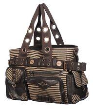 Banned Brown Stripe Steampunk Vintage Victorian Lock & Key Shoulder Bag Handbag
