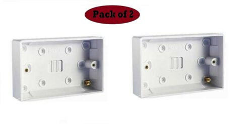Doble Twin 25mm Blanco Pared Pattress Caja posterior 13 Amp 2 Gang Enchufe Eléctrico